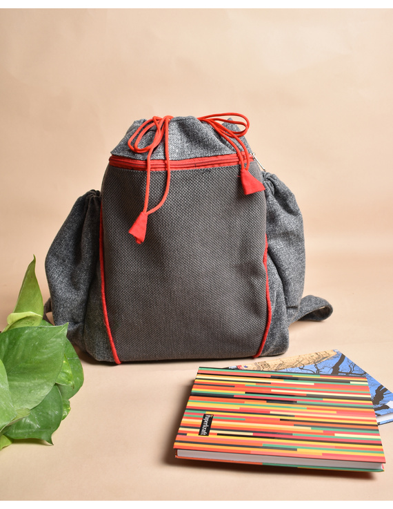 Unisex backpack or college bag in grey twill fabric with red trims : BPI01-1