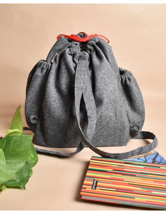 Unisex backpack or college bag in grey twill fabric with red trims : BPI01-2