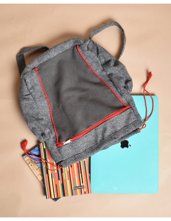 Unisex backpack or college bag in grey twill fabric with red trims : BPI01-3