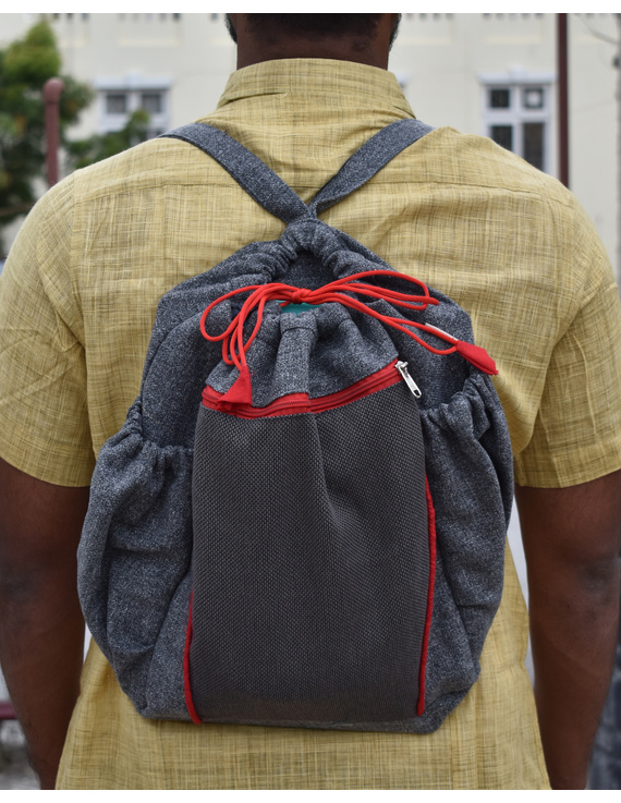 Unisex backpack or college bag in grey twill fabric with red trims : BPI01-BPI01