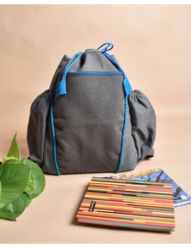 Unisex backpack or college bag in grey twill fabric with blue trims : BPI02-1-sm