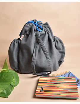 Unisex backpack or college bag in grey twill fabric with blue trims : BPI02-2-sm