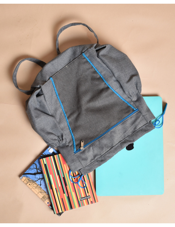 Unisex backpack or college bag in grey twill fabric with blue trims : BPI02-3