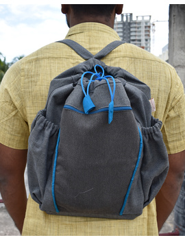 Unisex backpack or college bag in grey twill fabric with blue trims : BPI02-BPI02-sm