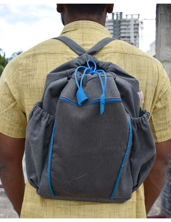Unisex backpack or college bag in grey twill fabric with blue trims : BPI02-BPI02