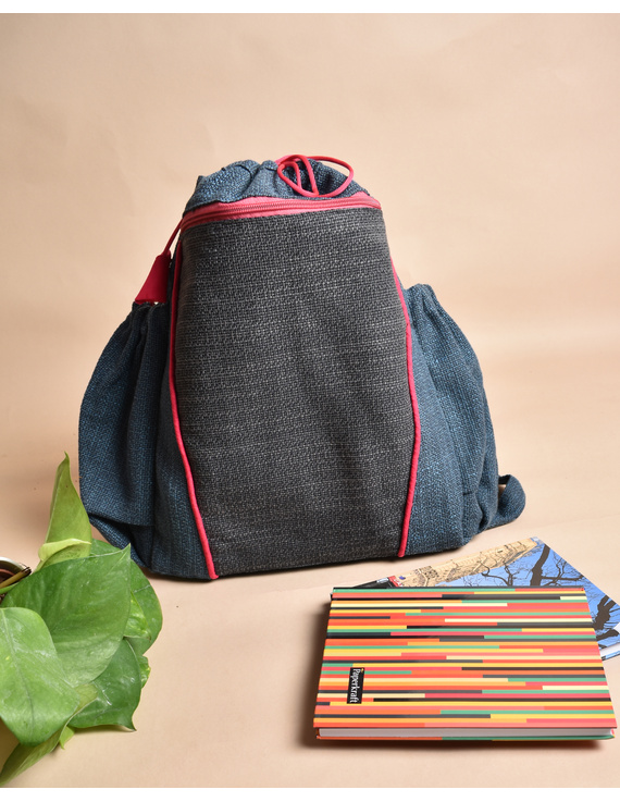 Unisex backpack or college bag in blue twill fabric with pink trims : BPI03-1