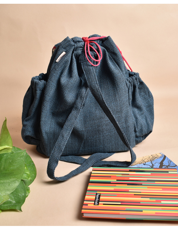 Unisex backpack or college bag in blue twill fabric with pink trims : BPI03-2