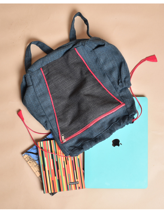 Unisex backpack or college bag in blue twill fabric with pink trims : BPI03-3