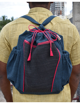 Unisex backpack or college bag in blue twill fabric with pink trims : BPI03-BPI03-sm