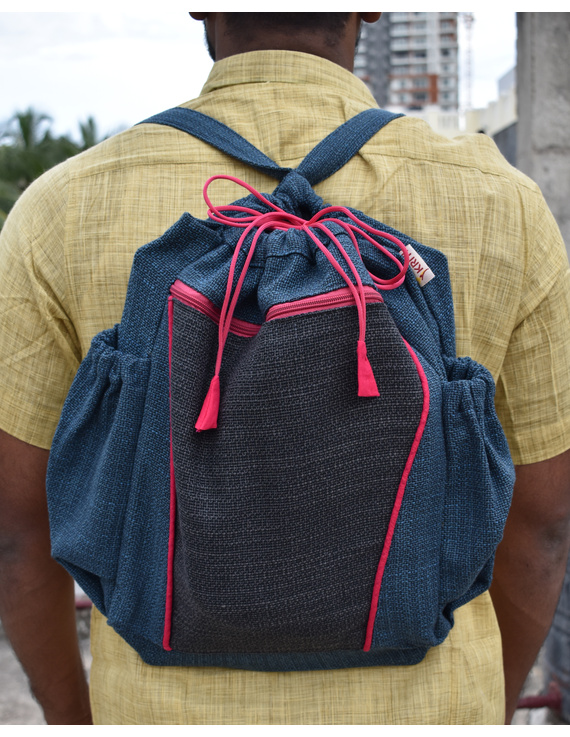 Unisex backpack or college bag in blue twill fabric with pink trims : BPI03-BPI03