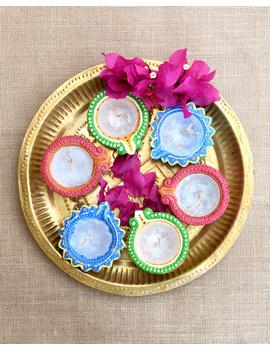 Multi-Colour Handpainted Diyas With Wax Candles For Diwali - Set of 12 : DDW12-DDW12-sm