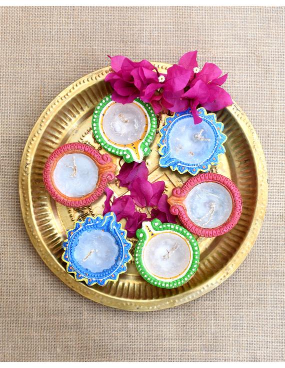 Multi-Colour Handpainted Diyas With Wax Candles For Diwali - Set of 12 : DDW12-DDW12