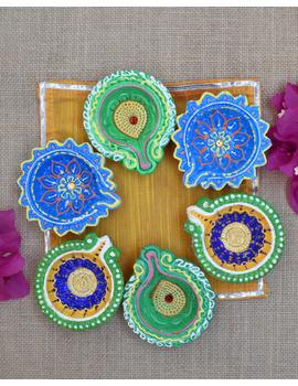 Traditional Multi Colour Clay Handpainted Diya For Diwali Set of 12 : DDY12-DDY12-sm