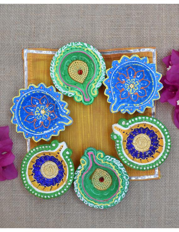 Traditional Multi Colour Clay Handpainted Diya For Diwali Set of 12 : DDY12-DDY12