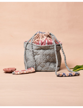Gift hamper potli cum lunch bag in grey ikat cotton : MSL07-1-sm