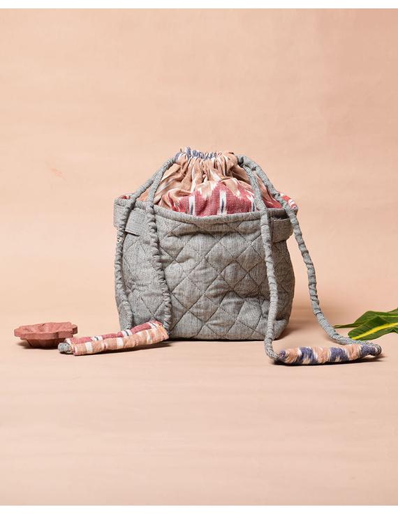 Gift hamper potli cum lunch bag in grey ikat cotton : MSL07-1