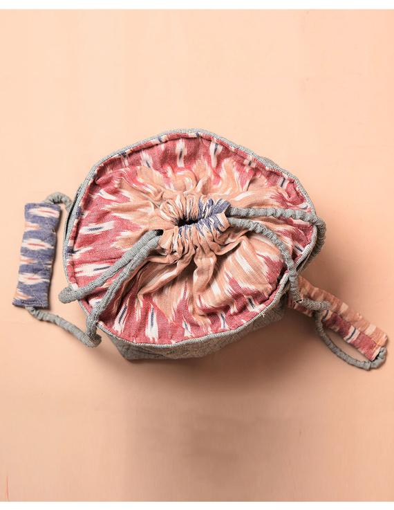Gift hamper potli cum lunch bag in grey ikat cotton : MSL07-2