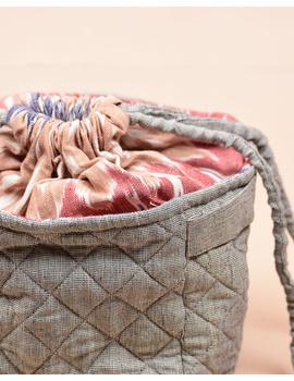Gift hamper potli cum lunch bag in grey ikat cotton : MSL07-3-sm