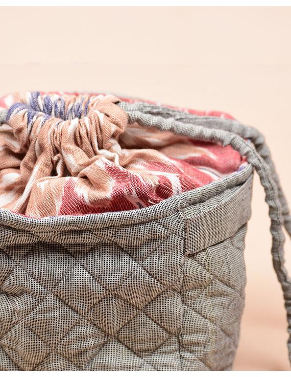 Gift hamper potli cum lunch bag in grey ikat cotton : MSL07-3