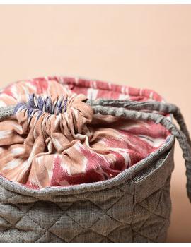 Gift hamper potli cum lunch bag in grey ikat cotton : MSL07-4-sm