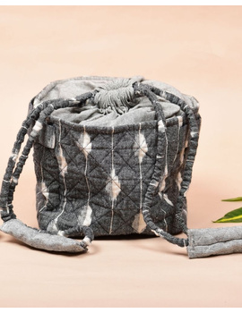 Gift hamper potli cum lunch bag in grey and beige ikat cotton : MSL08-1-sm