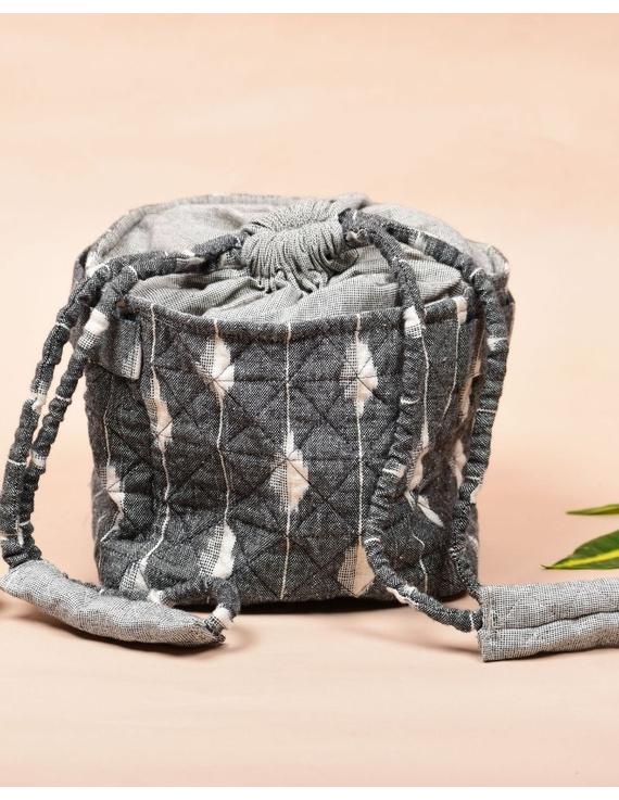 Gift hamper potli cum lunch bag in grey and beige ikat cotton : MSL08-1