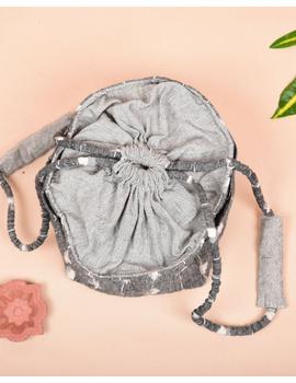 Gift hamper potli cum lunch bag in grey and beige ikat cotton : MSL08-2-sm