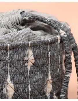 Gift hamper potli cum lunch bag in grey and beige ikat cotton : MSL08-3-sm