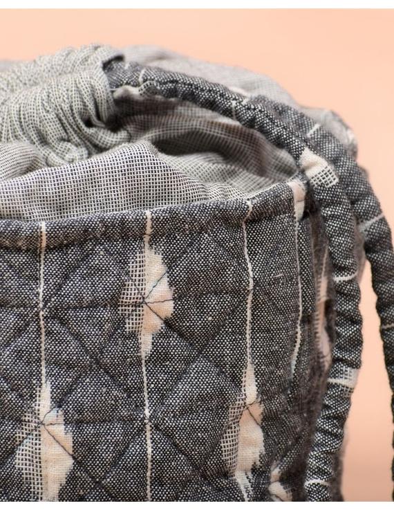 Gift hamper potli cum lunch bag in grey and beige ikat cotton : MSL08-3