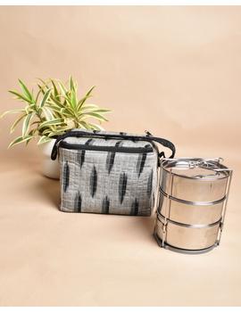 Smart grey ikat lunch bag or picnic bag with zip closure : MSL06-2-sm