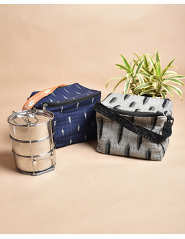 Smart grey ikat lunch bag or picnic bag with zip closure : MSL06-5-sm