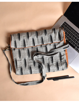 """""""Samarth"""" laptop bag in grey ikat and faux leather : LBM04-1-sm"""