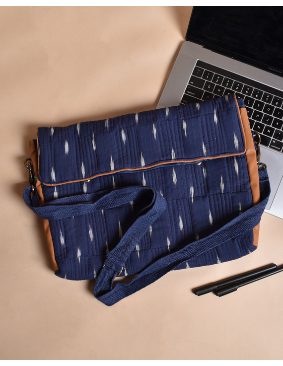 """""""Samarth"""" laptop bag in blue ikat and faux leather : LBM05-1"""