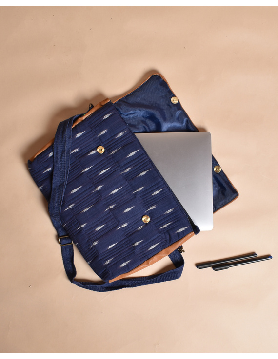 """""""Samarth"""" laptop bag in blue ikat and faux leather : LBM05-2"""