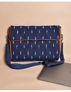 """""""Samarth"""" laptop bag in blue ikat and faux leather : LBM05-3-sm"""