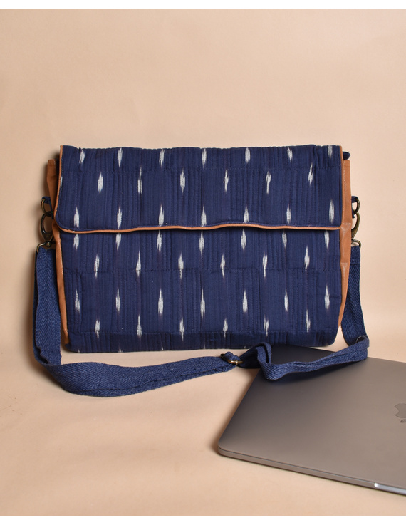 """""""Samarth"""" laptop bag in blue ikat and faux leather : LBM05-3"""