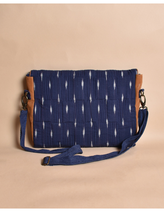 """""""Samarth"""" laptop bag in blue ikat and faux leather : LBM05-4"""