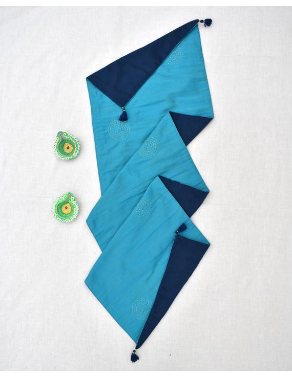 Indigo 'n' Blue Silk reversible festive table runner : HTR13-HTR13D