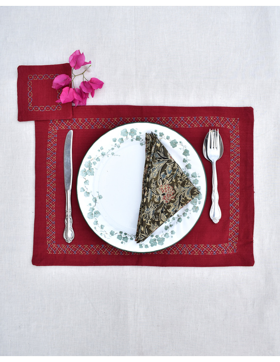 Maroon cotton embroidered table mat set with coasters and kalamkari napkins : HTM11-HTM1106