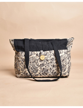 QUILTED WHITE AND BLACK IKAT PURSE BAG WITH POCKETS: TBD05-1-sm