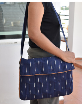 """""""Samarth"""" laptop bag in blue ikat and faux leather : LBM05-LBM05-sm"""