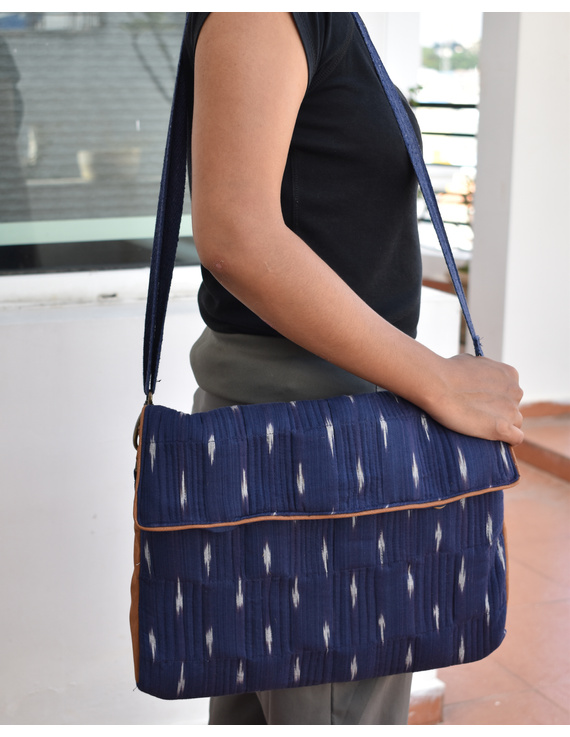 """""""Samarth"""" laptop bag in blue ikat and faux leather : LBM05-LBM05"""