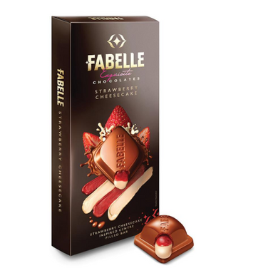 Fabelle Luxury Chocolates Strawberry Cheese Centre Filled Bar Infused with Cheese Mousse and Strawberry 131g-Fabelle-144