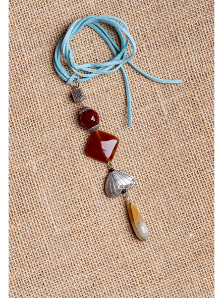 Handcrafted Semi-Precious Stones Sleek Pendant Strung with Suede Cord-LAA-NL-011