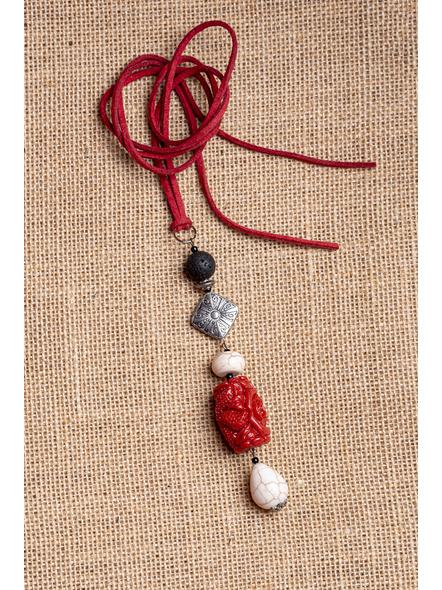 Handmade Semi-Precious Stones Sleek Pendant Strung with Suede Cord-LAA-NL-002