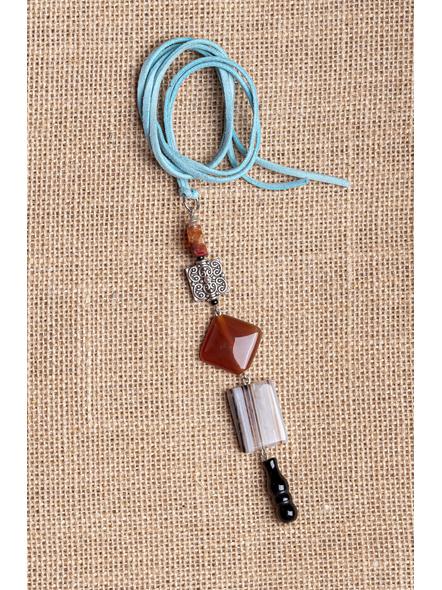 Handmade Semi-Precious Stones Sleek Pendant Strung with Suede Cord-LAA-NL-004