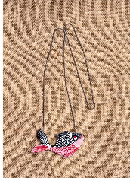 Wooden Fish Pendant Strung with Long German Silver Chain Neckpiece-LAA-NL-012