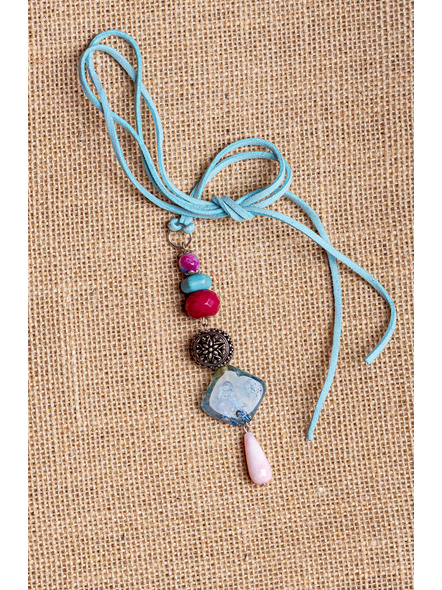Handmade Semi-Precious Stones Sleek Pendant Strung with Suede Cord-LAA-NL-010