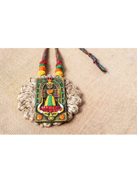Handcrafted Terracotta Multicolored Durga on Jute Base-2