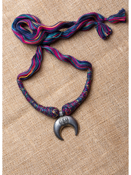 Handcrafted German Silver Crescent Pendant with Multi-colour Thread-LAA-NL-015